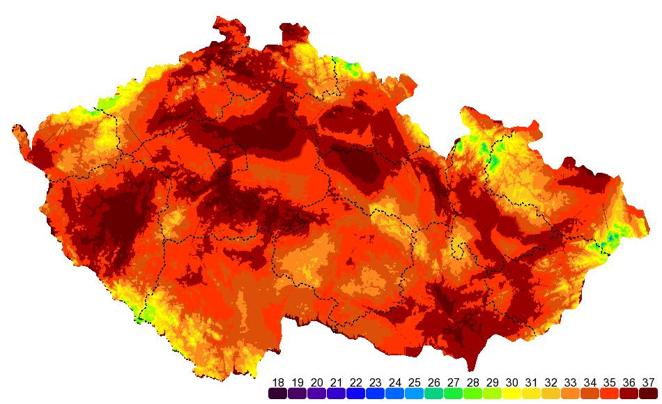Image result for teplotní mapa čr