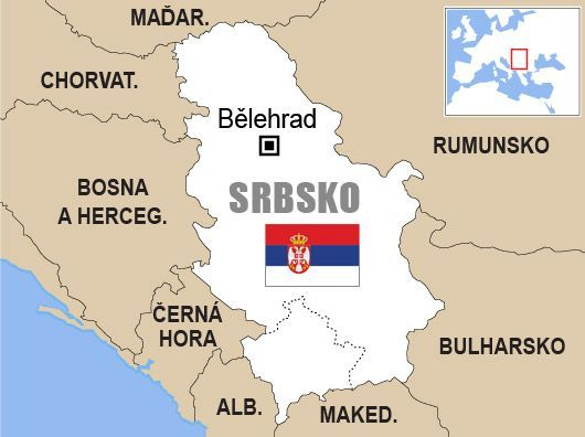 Srbsko Mapa