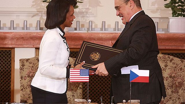 Jubilant Condoleezza Rice and Karel Schwarzenberg after signing the treaty