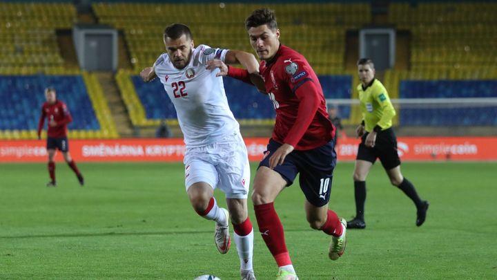 Bělorusko - Česko 0:1. Skvěle. Schick se prosadil z první vážnější šance; Zdroj foto: Reuters
