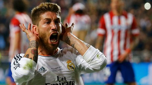 Real Madrid's Sergio Ramos celebrates after scoring a goal against Atletico Madrid during their Champions League final soccer match at the Luz Stadium in Lisbon May 24, 2