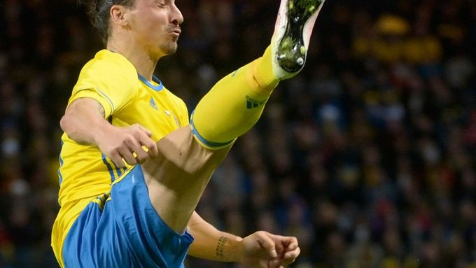 Sweden's Zlatan Ibrahimovic controls the ball during the friendly soccer match between Sweden and Czech Republic at the Friends Arena in Stockholm