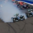 Mercedes Formula One driver Rosberg of Germany leads the pack after the start of the first Russian Grand Prix in Sochi