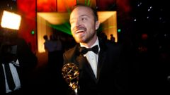 "Aaron Paul, winner for Outstanding Supporting Actor in a Drama Series for ""Breaking Bad"" arrives at the Governors Ball for the 66th Primetime Emmy Awards in Los Angeles"