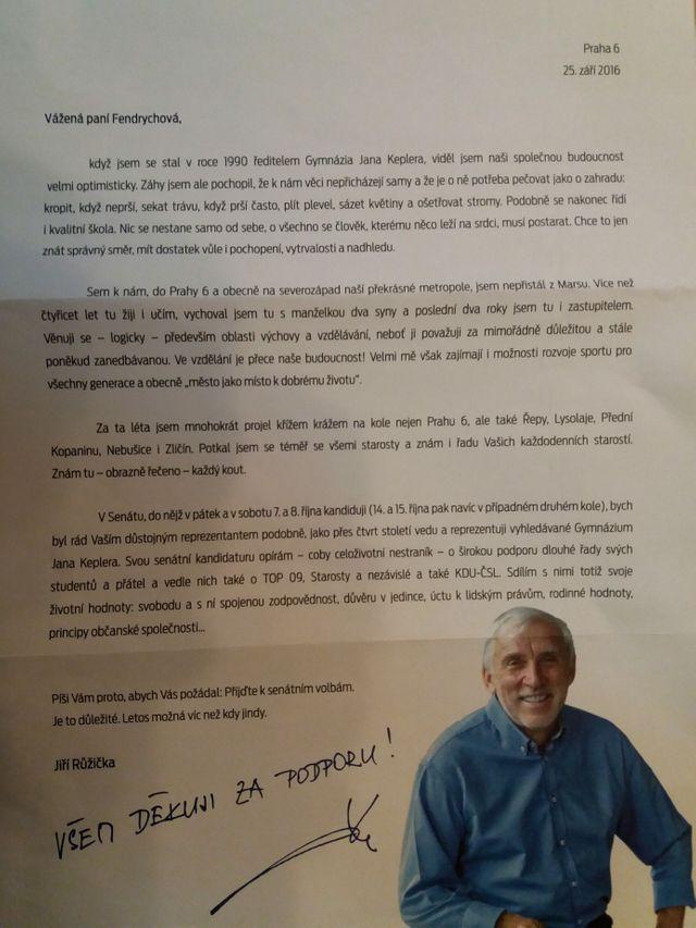 6fe11bb15e Jiří Růžička rozesílá voličkám dopis.