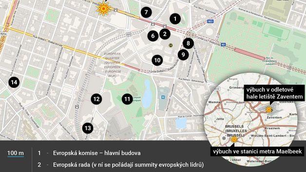 mapa - Brusel - instituce v blízkosti místa výbuchu