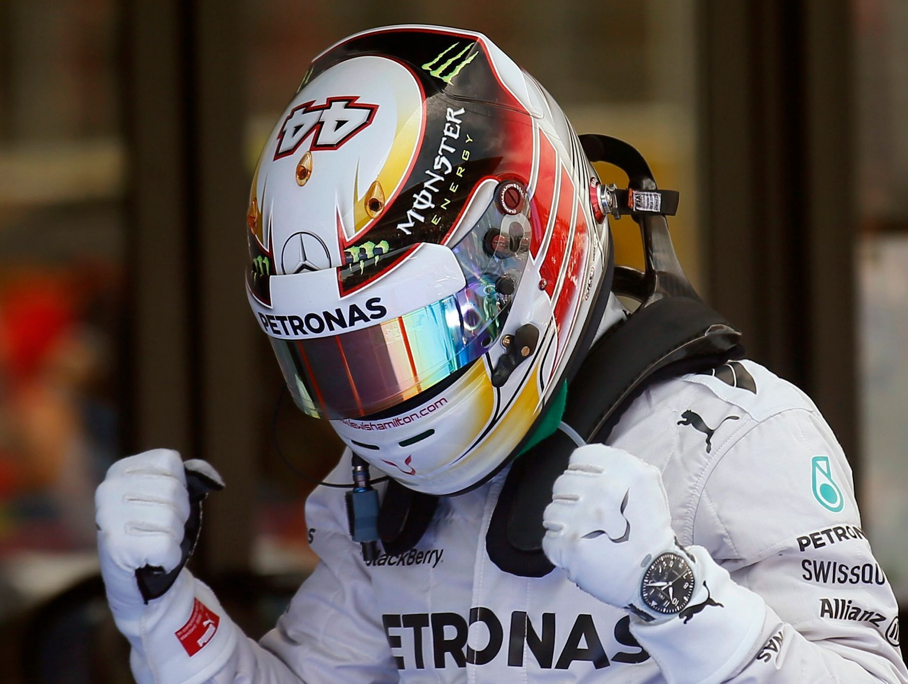 Mercedes Formula One driver Lewis Hamilton celebrates after taking the pole position at the qualifying session of the Spanish F1 Grand Prix at the Barcelona-Catalunya Circuit in Montmelo