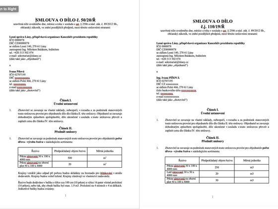 Smlouvy za v součtu téměř 1,5 milionu korun, které v Lánech uzavřela dcera muže, od něhož si Miloš Zeman koupil pozemek.