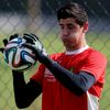 Belgium's national goalkeeper Courtois attends a training session in Mogi das Cruzes