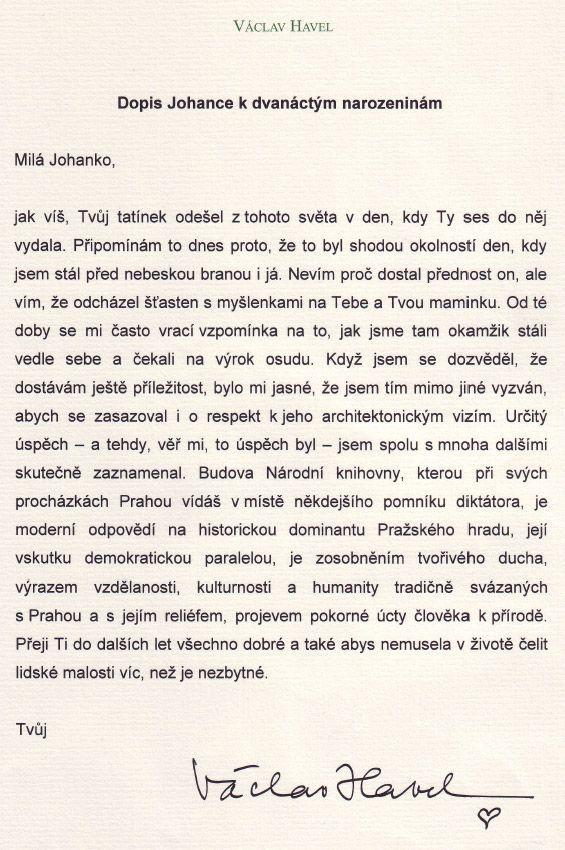dopis k narozeninám Václav Havel   Dopis Johance k dvanáctým narozeninám   Aktuálně.cz dopis k narozeninám