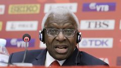 FILE PHOTO: President of International Association of Athletics Federations (IAAF) Diack answers a question at a news conference in Beijing,