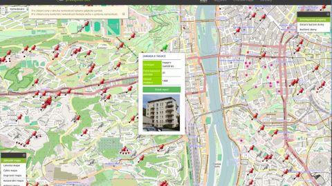 Červené špendlíky značí lokality, ve kterých se nacházejí bytové developerské projekty. Po jejich rozkliknutí lze po zaplacení zjistit, za kolik se tam byty reálně prodaly.
