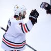 Blackhawks' Seabrook celebrates his game-winning goal agains