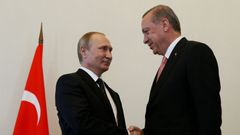 Russian President Putin shakes hands with Turkish President Erdogan during their meeting in St. Petersburg