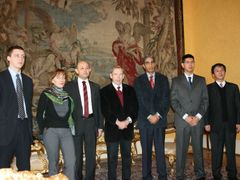 From left to right: Artur Finkevich (Belarus), Oksana Chelysheva (Russia), Farid Tukhbatullin (Turkmenistan), Václav Havel (Czech Republic), Osvaldo Alfonso Valdes (Cuba), Min Zin (Burma) and Kim Seung Min (North Korea)