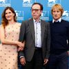 "Wilson poses with Bogdanovich and Hahn during the photo call for the movie ""She's Funny That Way"" at the 71st Venice Film Festival"