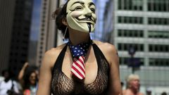 A woman takes part in the topless march in New York