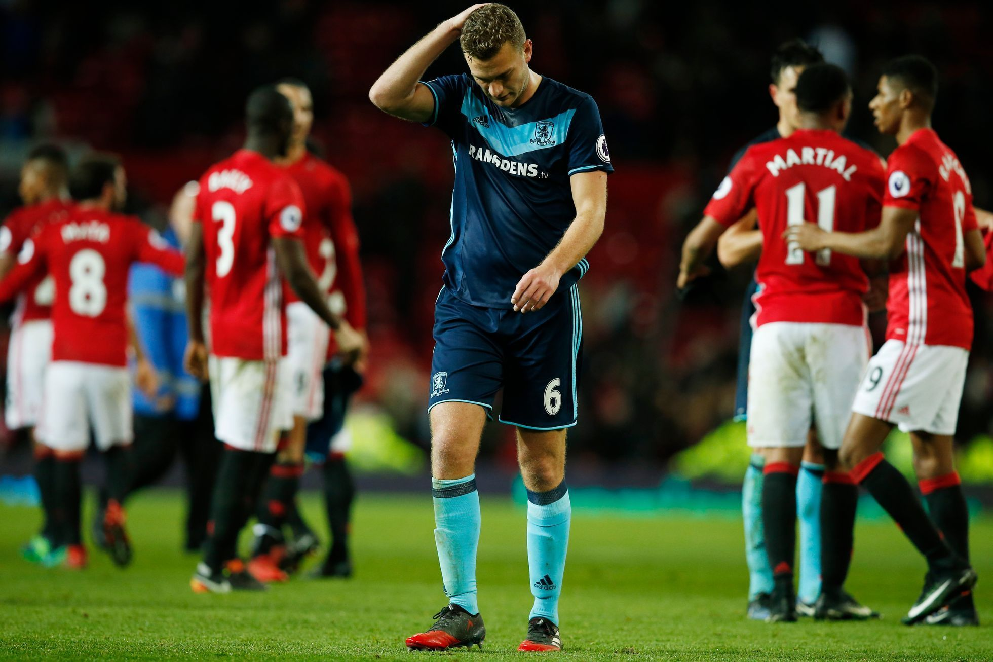 Ben Gibson z Middlesbrough po prohraném zápase s Manchesterem United