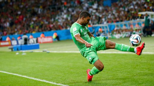 Algeria's El Arabi Soudani kicks the ball during their 2014 World Cup round of 16 game against Germany at the Beira Rio stadium in Porto Alegre June 30, 2014. REUTERS/Dar
