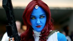 Allie Shaughnessy, who is dressed as Mystique, during the 2014 Comic-Con International Convention in San Diego, California