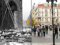 Tehdy a nyní: Barikády a rozstřílené fasády v Praze 1945