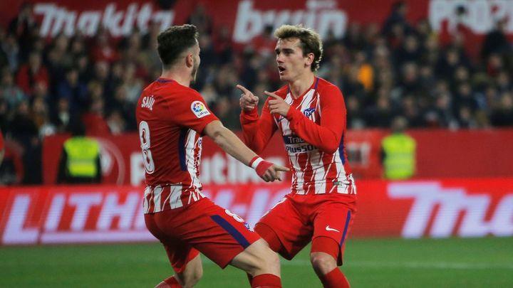 Atlético nastřílelo Seville na jejím hřišti pět branek, Griezmann zaznamenal hattrick