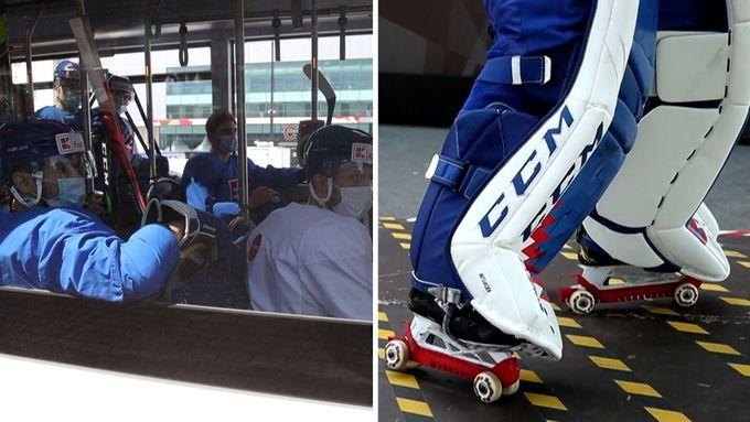 Kamera zachytila hráče Švýcarska a Slovenska, jak musejí v chráničích bruslí přecházet přes vyasfaltovanou plochu a odjíždějí autobusem na trénink.