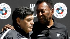 FILE PHOTO: Football legends Pele and Diego Maradona attend an advertising soccer event on the eve of the opening of the UEFA 2016 European Championship in Paris
