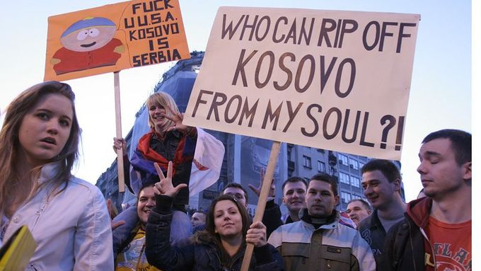 Demostration in Beograd against recognition of Kosovo indepedence