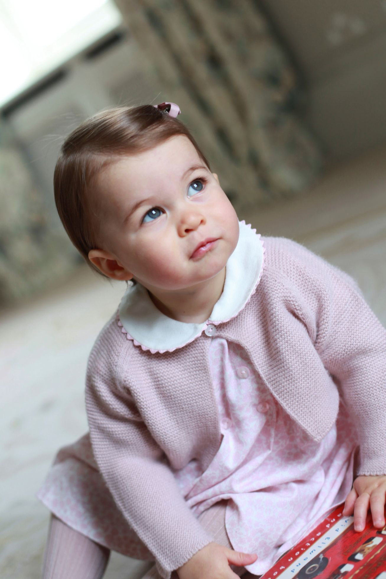 Britain's Princess Charlotte poses for a photograph in this undated photograph taken by her mother, Catherine, Duchess of Cambridge, at Anmer Hall in Norfolk