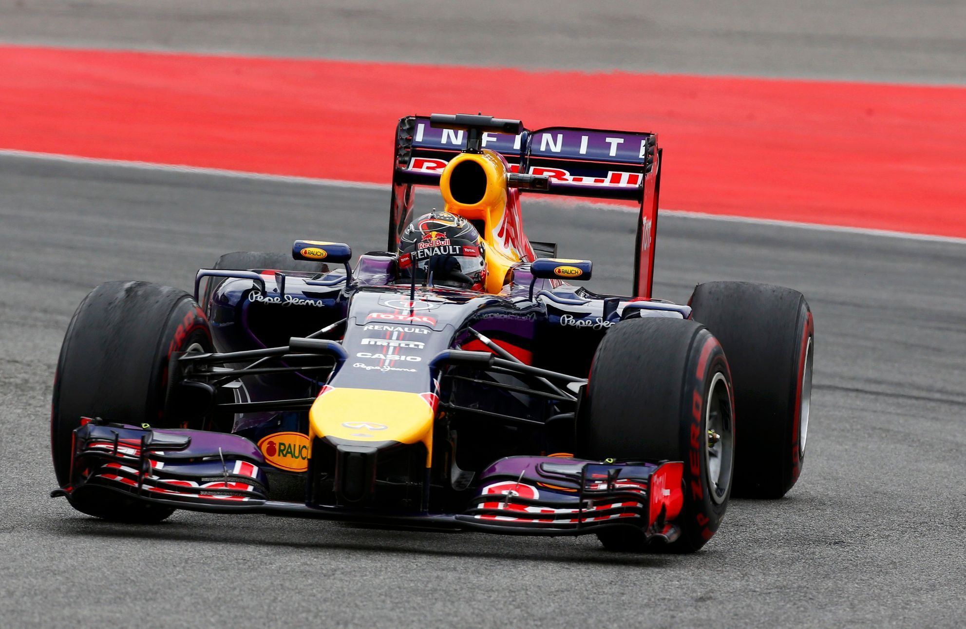 Red Bull Formula One driver Vettel drives through a corner during German F1 Grand Prix at Hockenheim