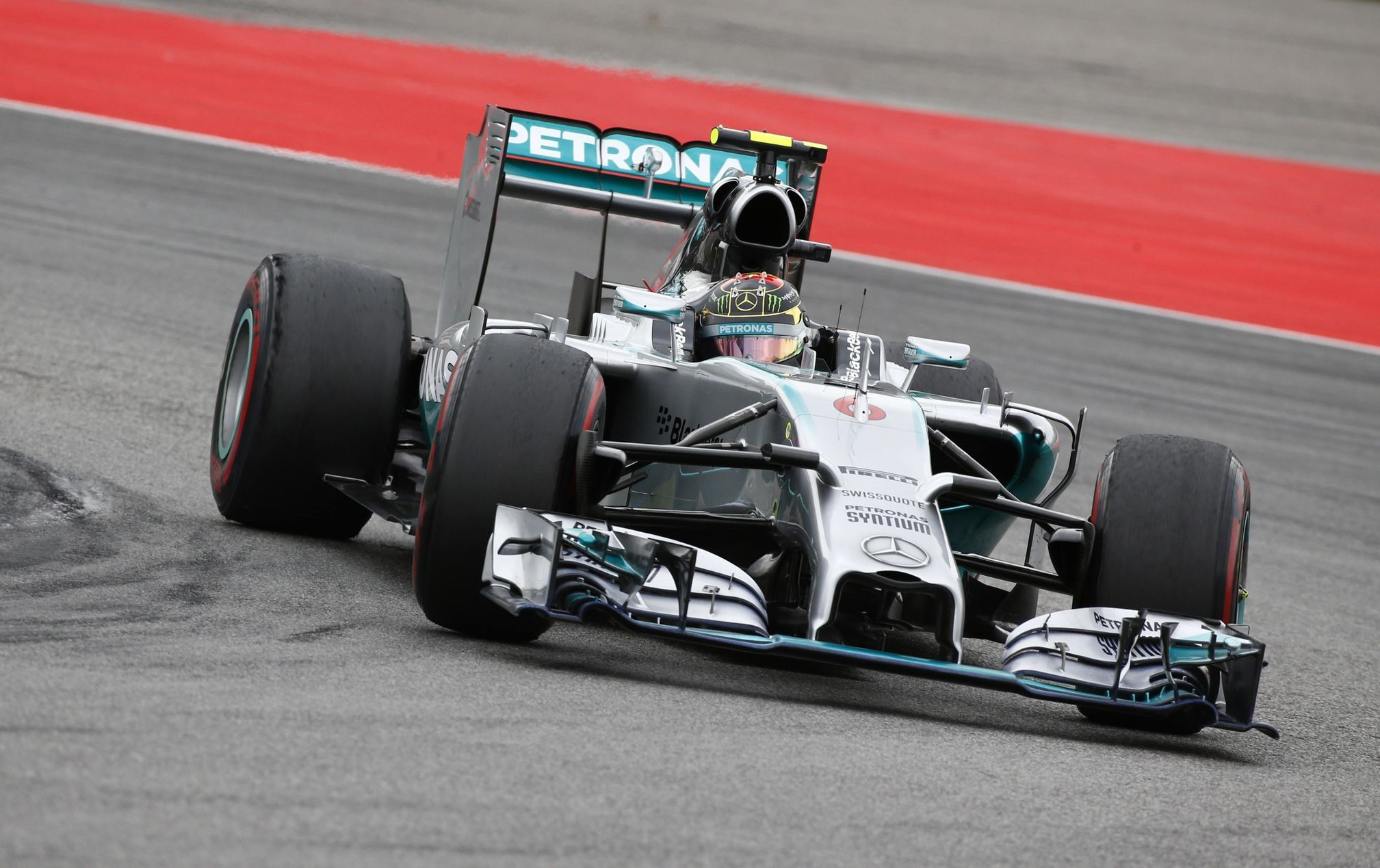 Mercedes Formula One driver Rosberg drives through corner during German F1 Grand Prix at Hockenheim
