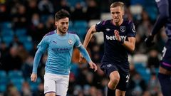 David Silva a Tomáš Souček, Manchester City - West Ham, Premier League