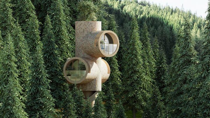 Dům v korunách stromů vypadá jako postavička z Mimoňů, pohání ho jen solární energie
