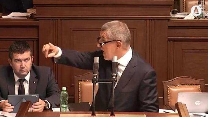 Andrej Babiš ve střetu s Miroslavem Kalouskem v Poslanecké sněmovně