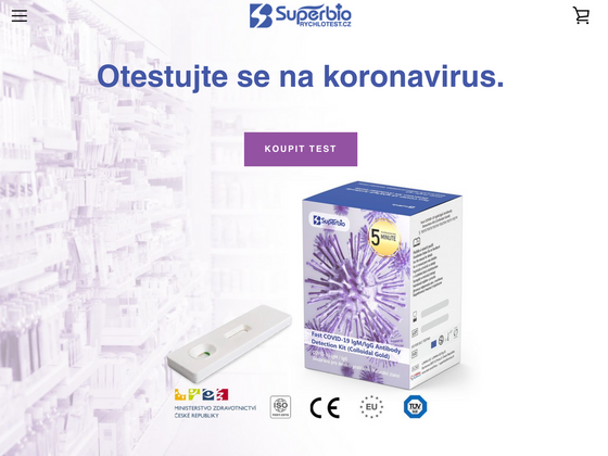 E-shop s rychlotesty na koronavirus.