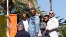 "Cast members  Kellan Lutz, Antonio Banderas, Victor Ortiz and Glen Powell pose on a tank on the Croisette to promote the film ""The Expendables 3"" during the 67th Cannes Film Festival in Cann"