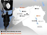 Vítězné tažení Islámského státu. Mapa dobytých měst