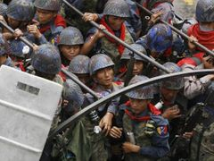Burmese soldiers during last September's violent suppression of peaceful demonstrations in Rangoon. Various sources put the number of victims of the crackdown between thirty and two hundred
