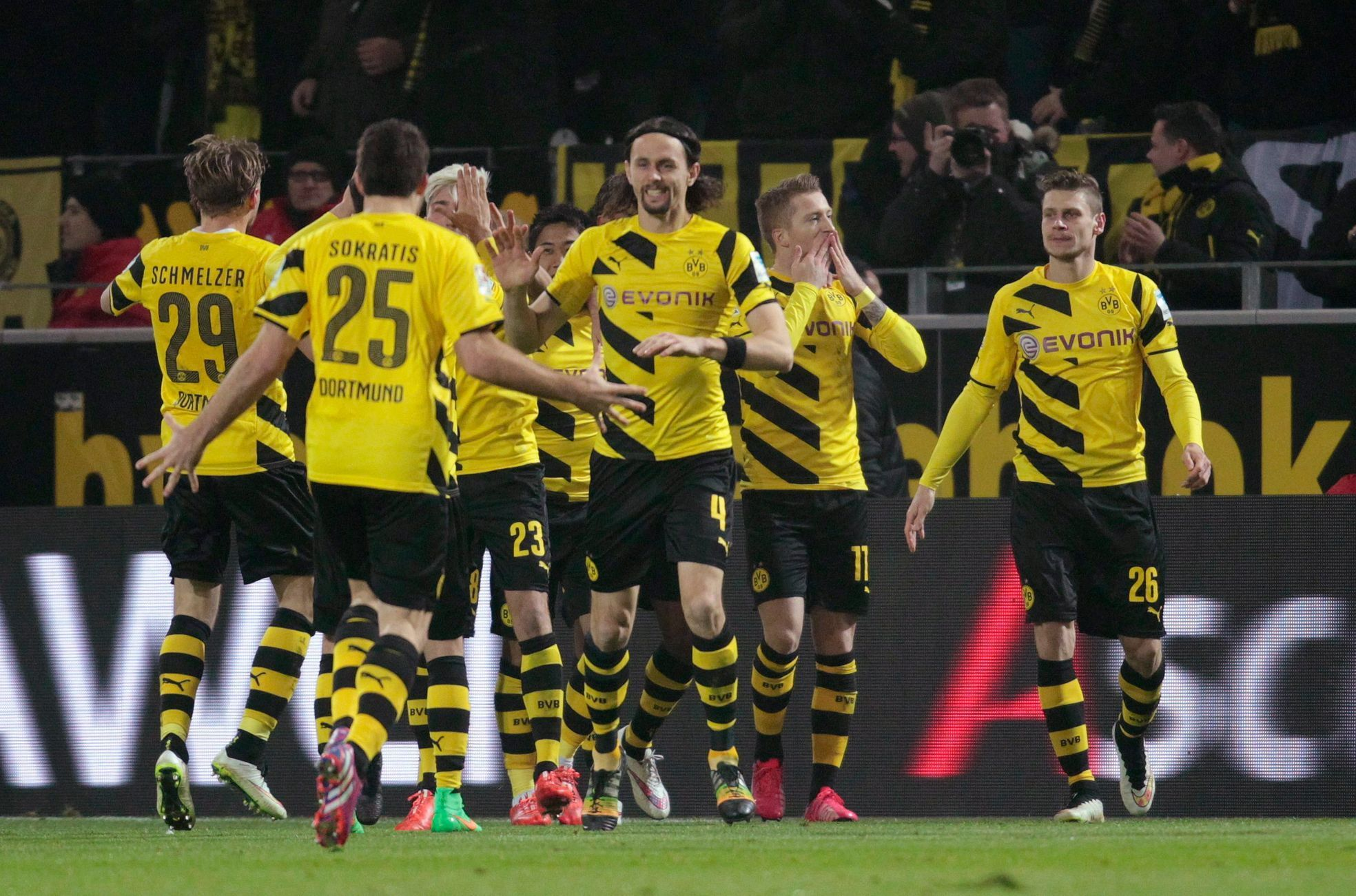 Borussia Dortmund's players celebrate a goal against Mainz 05 during their Bundesliga first division soccer match in Dortmund