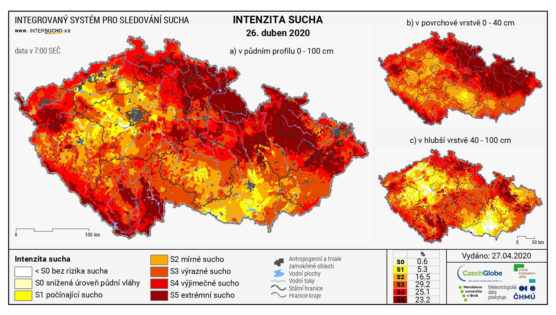 Mapa intenzity sucha v České republice. Zdroj: Intersucho