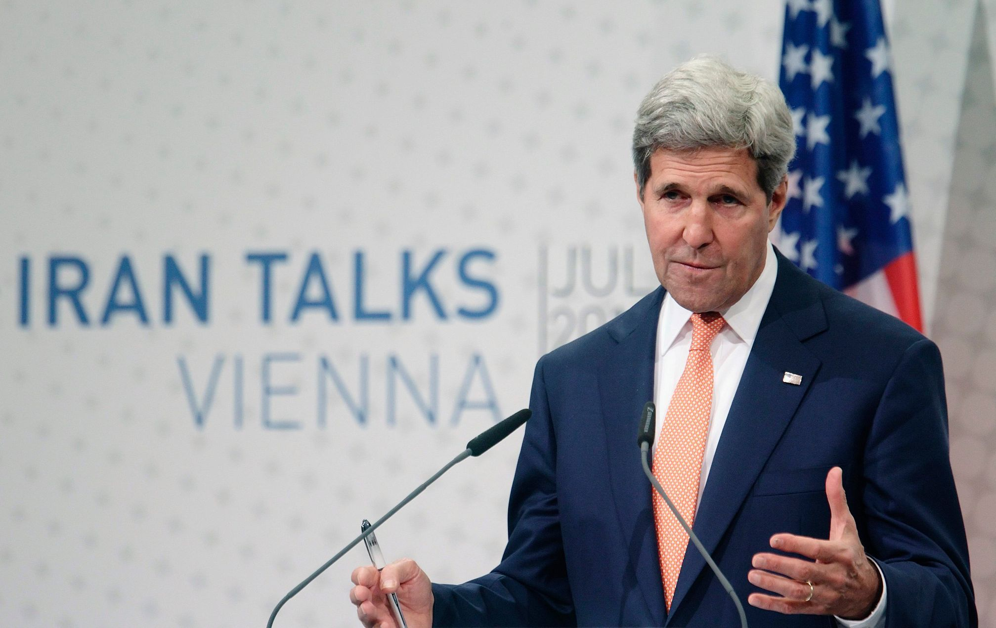 U.S. Secretary of State John Kerry speaks during a news conference in Vienna
