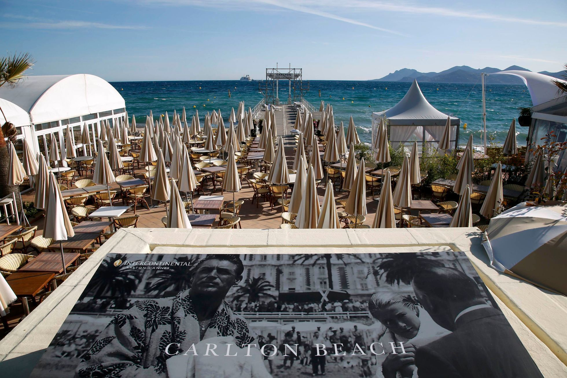 View of the Carlton Hotel pier as preparations continue ahead of the 67th Cannes Film Festival in Cannes