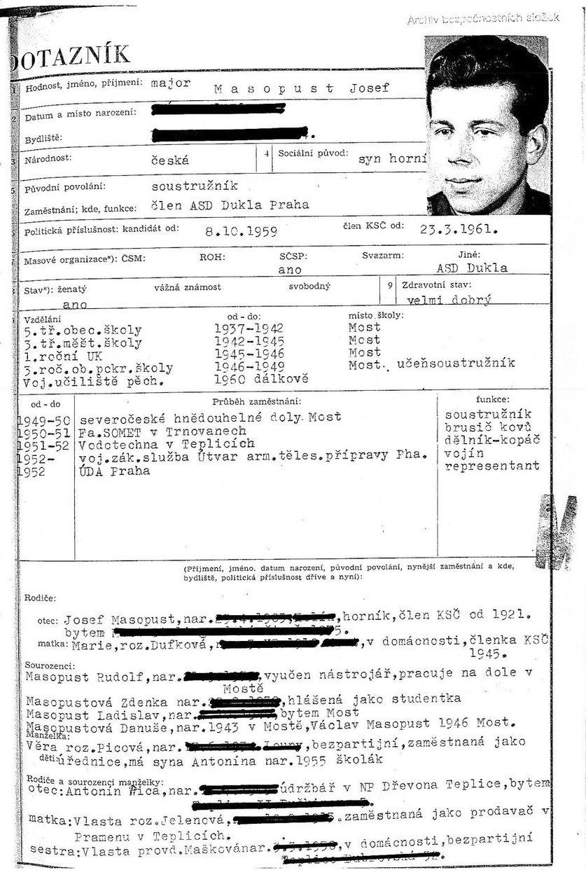 Tajn½ spis rozvědky veden½ na Josefa Masopusta Aktuálně