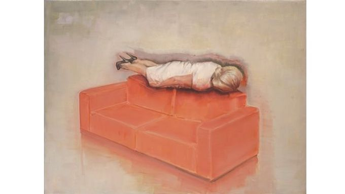 Attila Szücs, Woman is planking on a red couch, olej na plátně