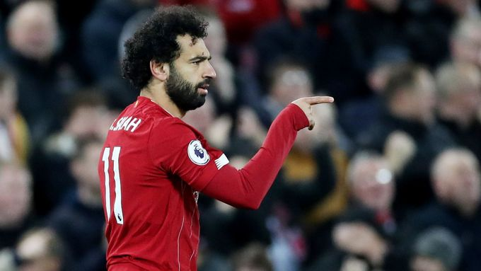 Mohamed Salah slaví v zápase Premier League Liverpool - Manchester City