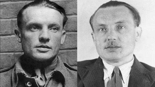 """Vlevo: 1942, Velká Británie - špičkově vycvičený parašutista Karel Čurda (30). Vpravo: 1947, Praha - konfident gestapa Čurda před popravou. """"Změnil se v lidskou trosku,"""" srovnává Miloš Doležal."""