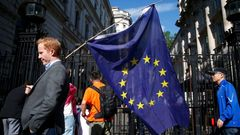 Brexit vlajka A man carries a EU flag, after Britain voted to leave the European Union, outside Downing Street in London