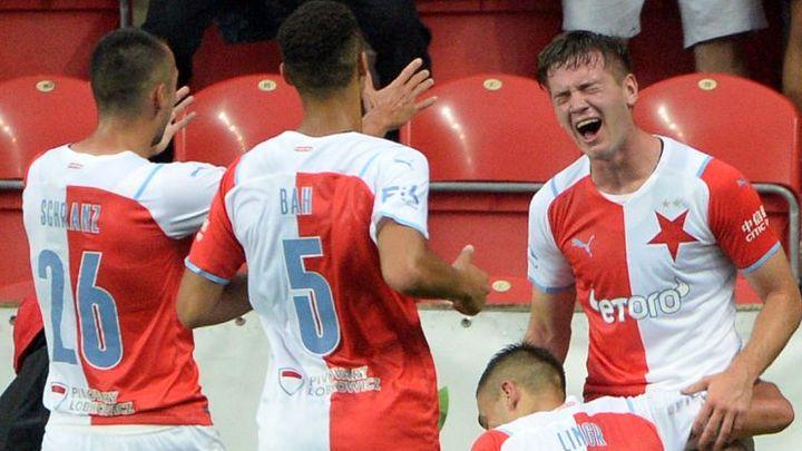 Slavia - Slovácko 1:0. Hosté se nevzdávají, po pauze zahrozili velkou šancí; Zdroj foto: ČTK