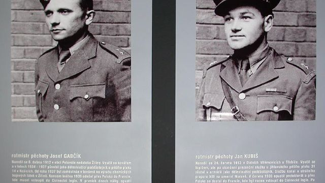 The heroes Josef Gabčík (left) and Jan Kubiš on a memorial board
